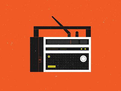 Vectober 04 – Radio grunge halftone simple geometric midcentury modern patrolman-6 vintage retro radio vectober inktober vector design illustration stylized