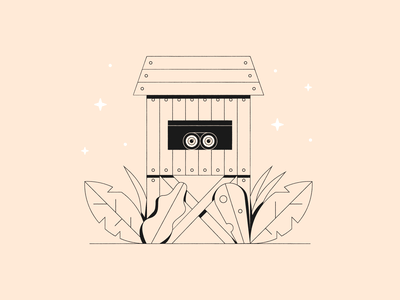 Vectober 15 – Outpost minimal look out shack jungle binoculars hideout vectober inktober outpost vector design illustration stylized