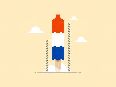 Vectober 16 – Rocket launch vectober inktober popsicle rocket pop spaceship rocket vector design illustration stylized