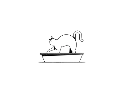 Vectober 24 – Dig kitty minimal grunge line design litter box cat dig vectober inktober design illustration stylized