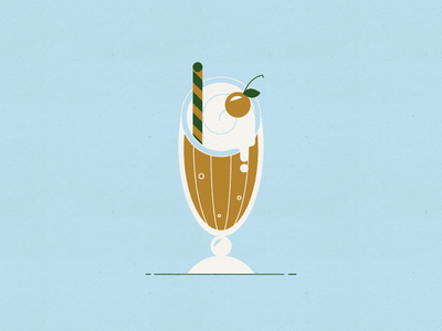 Vectober 18 – Float paper texture straw ice cream cherry rootbeer float simple mid century modern vector vectober inktober design illustration stylized