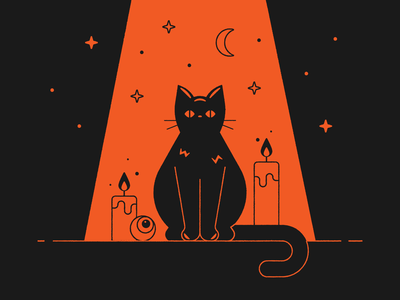 Vectober 30 – Ominous creepy moon stars candles halloween ominous spoopy spooky black cat vectober inktober vector design illustration stylized