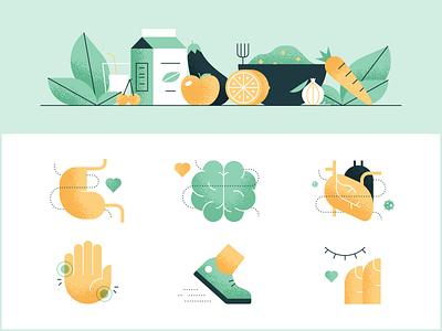 Plant-Based Benefits skin running inflammation heart brain stomach food diet vegan plant-based design illustration stylized