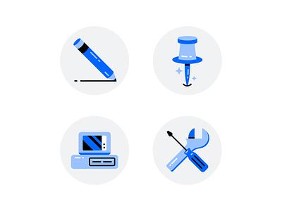 Shiny Icons flathead screwdriver wrench computer pin thumbtack pencil iconset design illustration stylized
