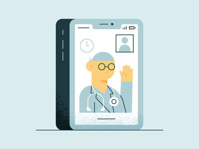 Virtual Healthcare consultation new normal covid-19 pandemic iphone healthcare virtual doctor design illustration stylized