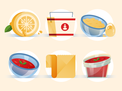 What You Can and Can't Put in a Microwave funky gradients food glass bowl plastic container parchment paper tomato soup scrambled eggs take out lemon vector design illustration stylized