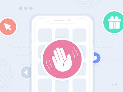 App Onboarding cursor member gifts phone greeting app vector design illustration stylized