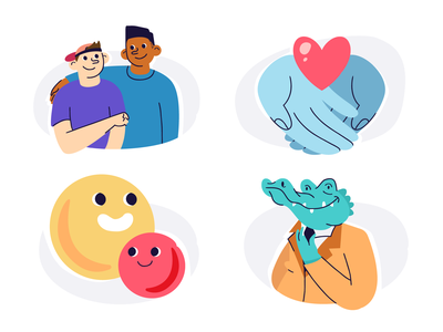 The Benefits of Giving love happiness friends giving crocodile vector design illustration stylized