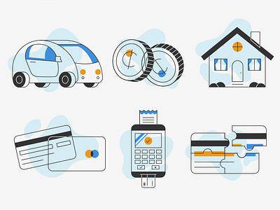 Credit Score Icons car house repair credit money design line stylized illustration