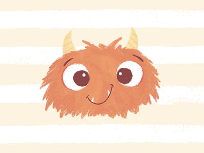 Monster friendly hairy cute monster childrens design stylized illustration
