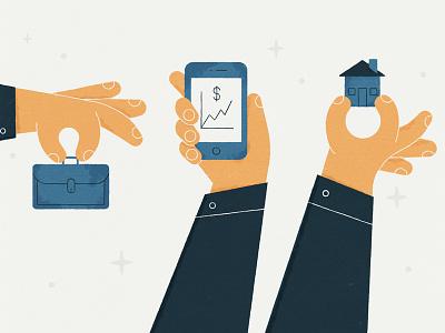 Businessman texture hands briefcase house phone stylized illustration