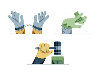 Money Hands vector chain hands law debt money design stylized illustration