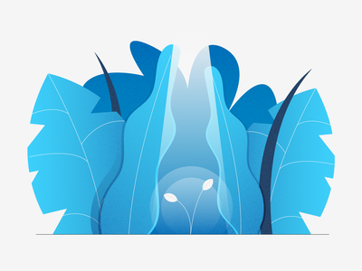 New Generation light grain gradient jungle leaves new sprout design stylized illustration