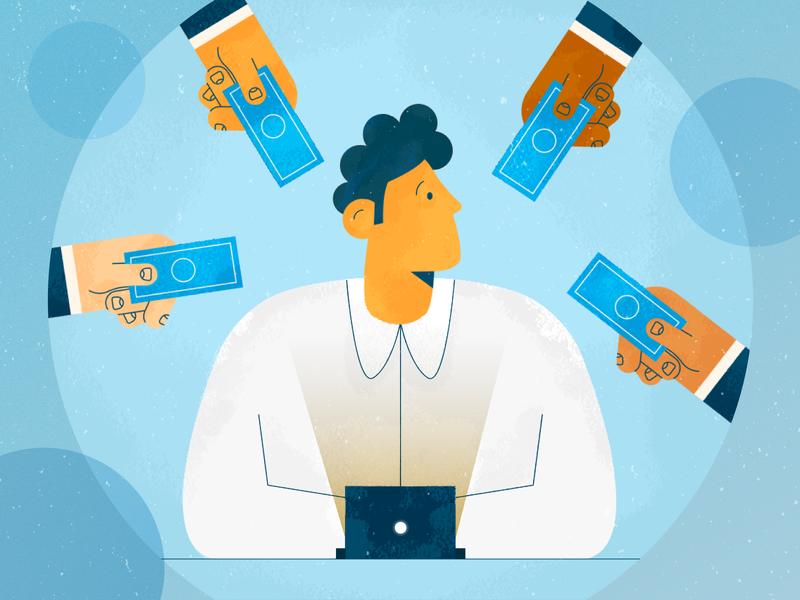 Freelancer money texture hands laptop freelance freelancer design illustration stylized