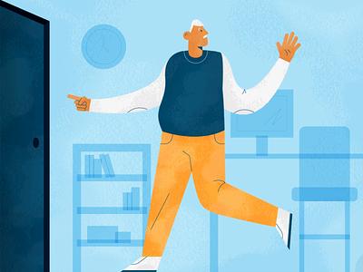 Retirement character l8r retiree old man office beach retirement design illustration stylized
