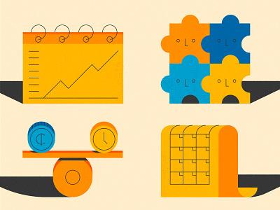 Job Benefits Icons growth track puzzle flexible schedule worklife balance job design illustration stylized