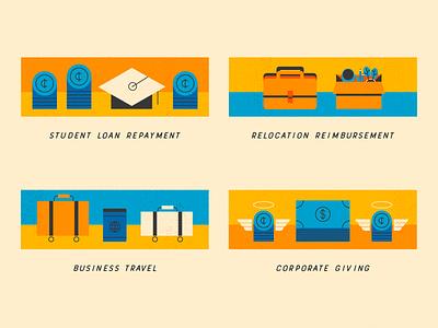 Work Benefits student loans new job charity travel debt money design illustration stylized
