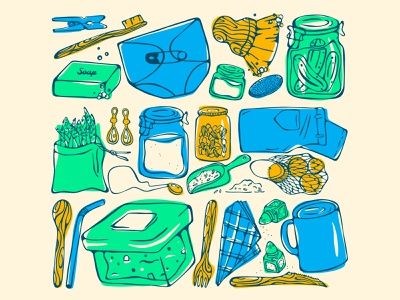 Zero Waste drawing eco friendly hand drawn jars reusable bamboo zero waste design illustration stylized
