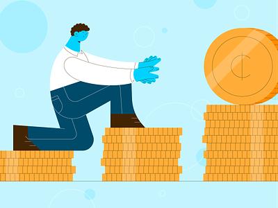 Money Money Money character vector drawing hands money design stylized illustration