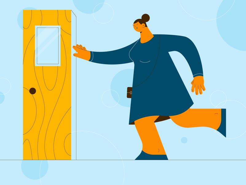 Movin' On! woman door run vector character girl hands design stylized illustration