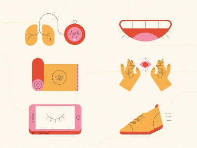 Stress Relief Icons phone meditate laugh yoga exercise stress free vector hands design stylized illustration