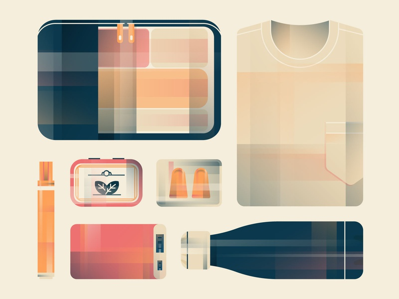 Carry-On Items organizer charger water bottle earplugs mints stain remover shirt carry on travel design illustration stylized