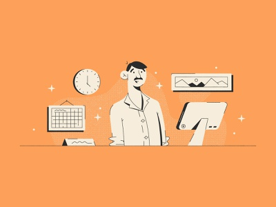 Hello! character name tag desk computer manager man design illustration stylized