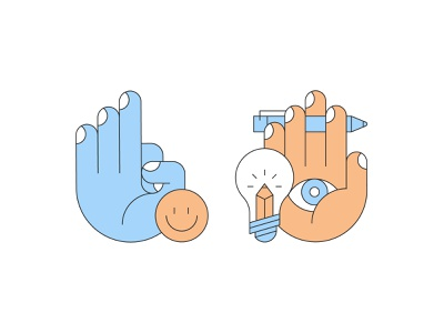 Hands meditate smiley stress visionary lightbulb pencil pen vector hands line design illustration stylized
