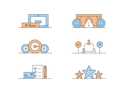 Bootstrapping Icons clean icons ranking checklist network goals money boss line vector design illustration stylized