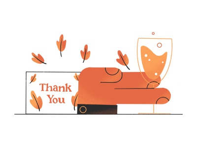 Thank Your Team fall thank you card thank you leaves champagne hand drawing design illustration stylized