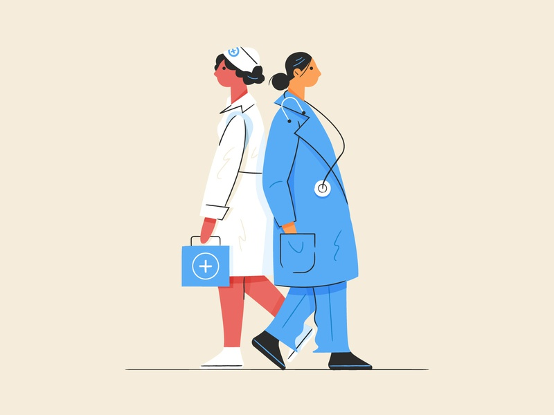 Then vs Now medical jobs pink collar 2010s doctor 1940s nurse drawing character women design illustration stylized