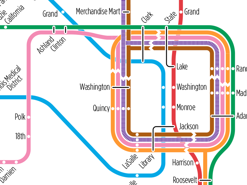 Chicago Loop Transit Map Study by Michael Tyznik on Dribbble on