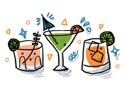 Margaritas fun illustration colorful fruity alcohol margaritas