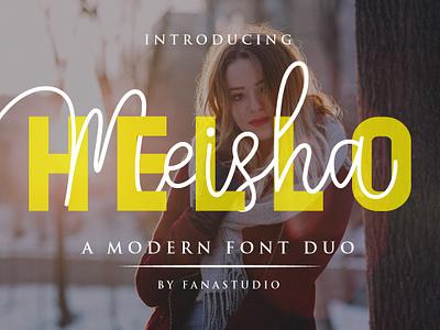 Hello Meisha a Modern Font Duo cute girly feminine stylish branding style natural casual script handwritten handwriting