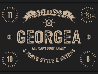 GEORGEA ALL CAPS FONT FAMILY WITH EXTRAS stamp logo brand powerful bold hollow outline grunge font sans serif
