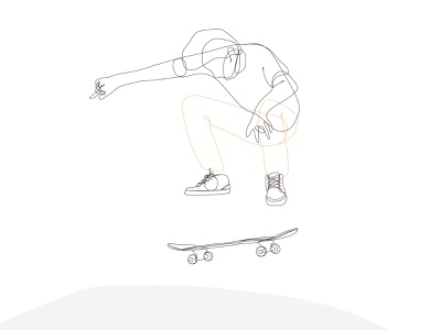 skater olly ollie design line art drawing wall art illustrator skater skateboarding lines