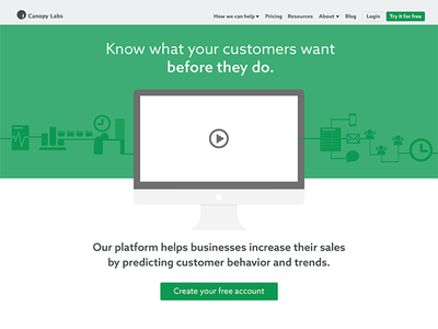 Landing page for startup company landing page green flat clean minimal design re-brand branding startup company site toronto ontario