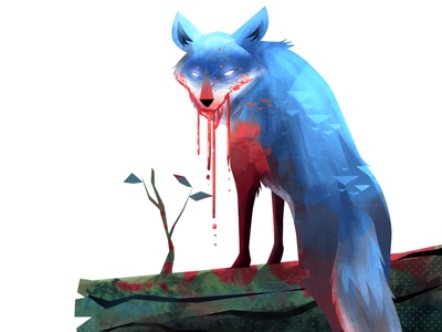 Coyote's Blood Thirst animal photoshop character illustration