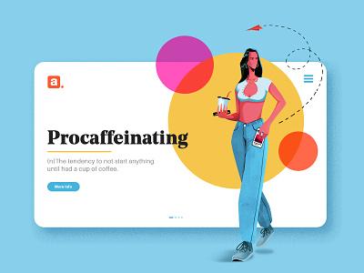 PROCAFFEINATING - Illustration coffee illustrator photoshop branding ui illustration