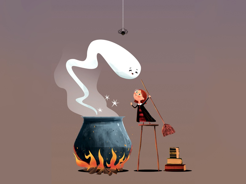 AN ADORABLE LILL WITCH digital art illustrator illustration vector illustration vector photoshop halloween