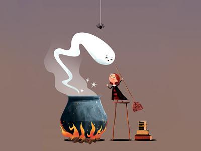 AN ADORABLE LILL WITCH digital art illustrator illustration vector illustration vector photoshop halloween