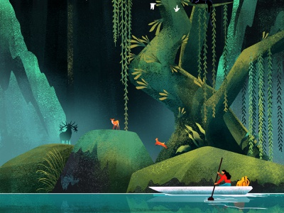 The Journey river water panther forest animals jungle forest character illustration
