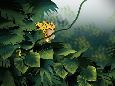 SOUND SLEEP leaves big cat jungle forest photoshop illustration leopard panther jaguar