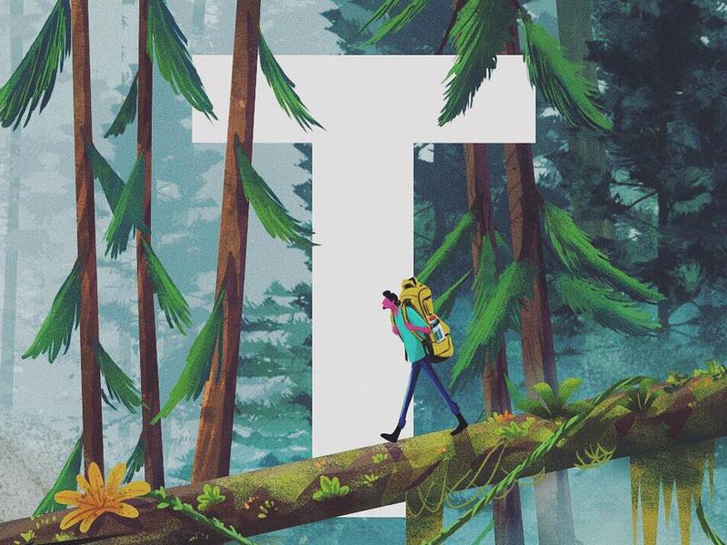 T - Time - Travel - Trees alphabet 36daysoftype illustration wacom photoshop trekking trees travel time