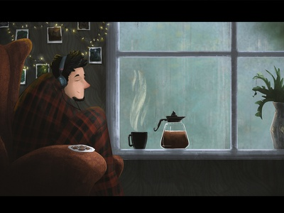 Rainy Day home music cookies lazy rain coffee wacom photoshop art illustration rainy rainyday