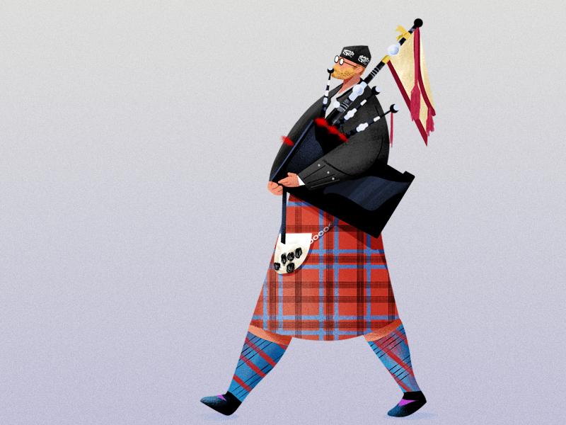 Bagpiper character design wacom photoshop illustration bagpiper
