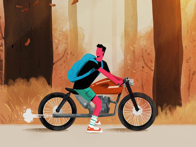 Rider wanderer cafe racer motorcycle explainer animation explainer explainervideo illustration art director design illustration art rider illustration photoshop
