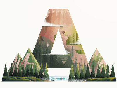 A for ABOVE mountains forest alps illustratio a 36daysoftype alphabe lake