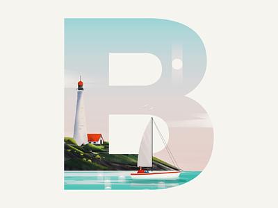 B for Beach, boat and birds alphabet b lighthouse illustration 36daysoftype boat beach