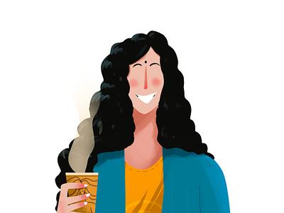That Desi Coffee Girl character art photoshop wacom illustration